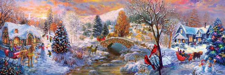 """To Grandma's House, We Go panoramic by Nicky Boheme 1000 piece puzzle. Finished Puzzle Size: 13"""" x 39"""" (99cm x 33cm).  A sleigh ride over the river and through the snow!"""