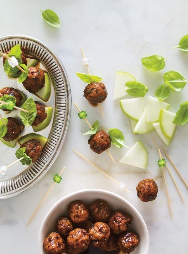 Boulettes de porc laquées, pomme verte et basilic | RICARDO