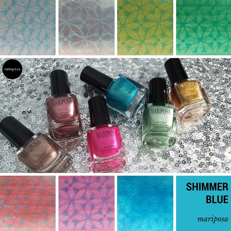 Wondering how #budgetbeauty nail polish brands stamp? Mariposa collection 018 is put to the test.  This is shimmer blue from Collection 018.  #dollarama #discountbeauty #stamping #nailart