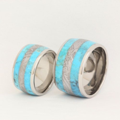 ... turquoise_wedding_rings #meteorite_wedding_ring #wedding_ring_set