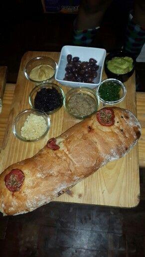 Starters: ciabatta, olives, hummus, tapenade, liver pate