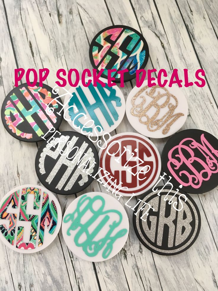 Pop Socket Monogram DECAL ONLY - (LAMINATED) - Heavy Duty Phone Grip Monogram  - Pop sockit monogram - Monogrammed phone stand - phone grip by ACCESSORIZETHISLLC on Etsy