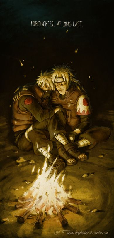 Hatake Kakashi and Hatake Sakumo, Kakashi's father.