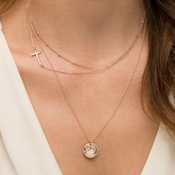 Rose Gold Dainty Layered Necklace