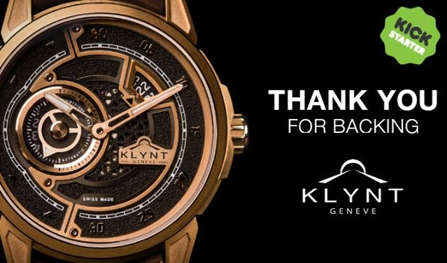 Dear backers,   Thank you for your amazing support!   We're off to a great start with already more than 40 KCHF collected and we've still got 26 days left to reach our goal!   To get there, a lot of PR is going on, and KLYNT was recently featured in great watchmaking blogs among which:  ·       Monochrome: https://monochrome-watches.com/klynt-geneve-elegance-contemporaine-value-proposition/  ·       Watchisthis: http://www.watchisthis.com/introducin...