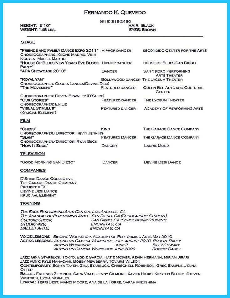 cool The Best and Impressive Dance Resume Examples Collections - dancer resume example