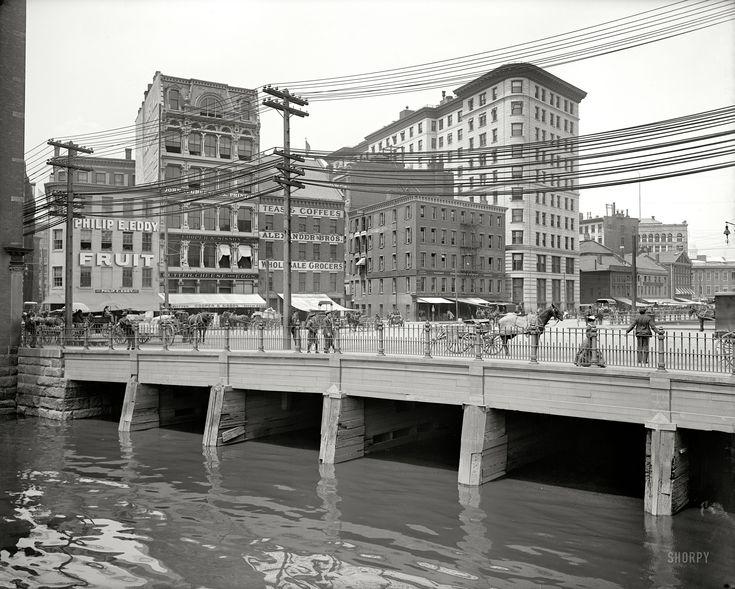 "Providence, Rhode Island, circa 1906. ""Crawford Street bridge."" 8x10 inch dry plate glass negative, Detroit Publishing Company."