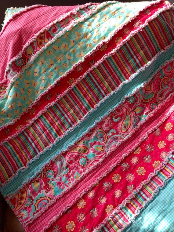 Flannel Rag Quilt  Bright paisley stripes and by DoLLsGoNeWiLd, $74.00