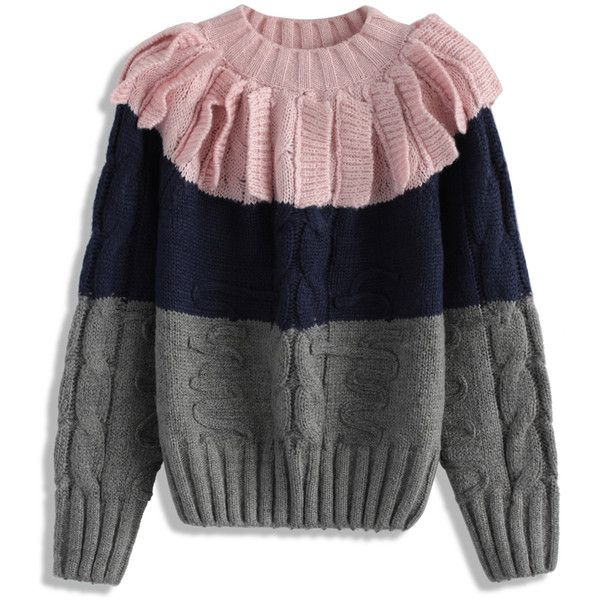 Chicwish Playful Art Cable Knit Sweater in Pink ($56) ❤ liked on Polyvore featuring tops, sweaters, grey, flutter-sleeve top, cable sweater, pink sweater, cable-knit sweater and color-block sweater
