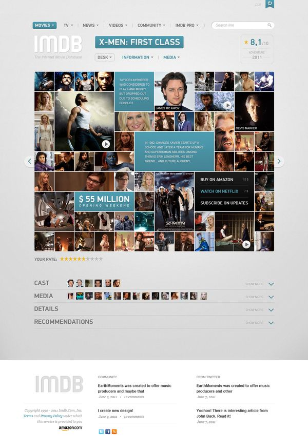 IMBD: Webdesign, Ui Design, Concept, Web Design, Inspiration, Website, User Interface, Vladimir Kudinov, Imdb