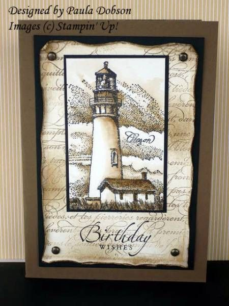 buy online glasses Weathered Lighthouse by Sponge Queen   Cards and Paper Crafts at Splitcoaststampers