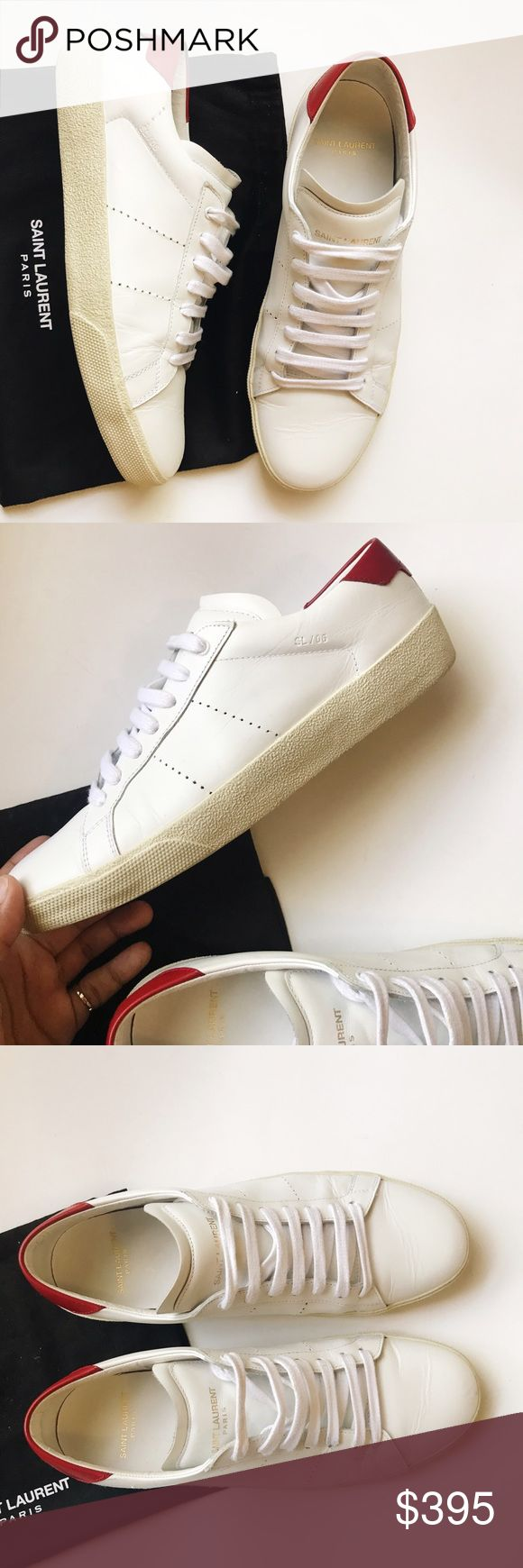 •saint laurent | court classic low top sneakers• Italian size 38 | runs large, fits like a US 8.5 | comes with dust bag, extra laces, and shoe box. Used. Saint Laurent Shoes Sneakers