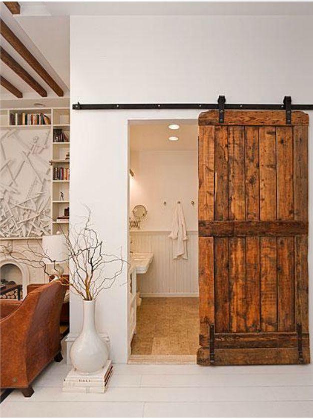 I don't hate this door: The Doors, Sliding Barns Doors, Sliding Barn Doors, Pocket Doors, Master Baths, Wooden Doors, Bathroom Door, Wood Doors, Sliding Doors