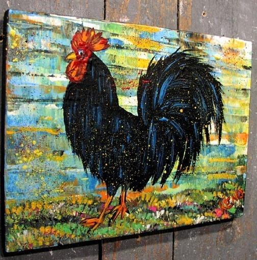 ROOSTER~chicken~ Maine FOLK ART outsider~COASTWALKER