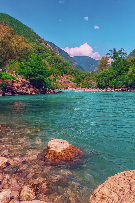 mountain river carries clean cold water into the Black sea by George Westermak,  Summer trip through the Caucasus mountains brings tourists a lot of new experiences from beautiful nature and meeting new people # George Westermak#Landscape#FineArtPfotography#Travel#FineArtPrints# Russia