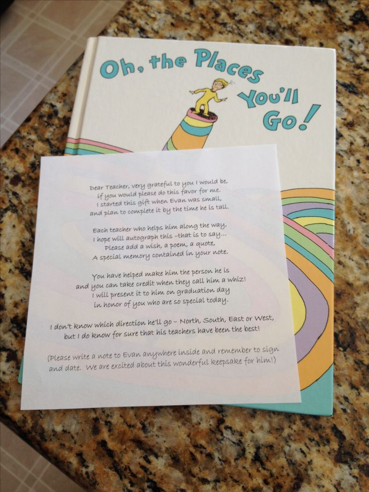 """Letter to go with end of the year """"Oh the places you'll go"""" teacher signatures."""