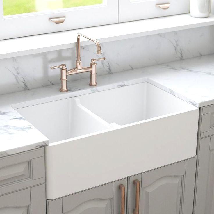 Crestwood 33 White Double Bowl Farmhouse Kitchen Sink Reversible