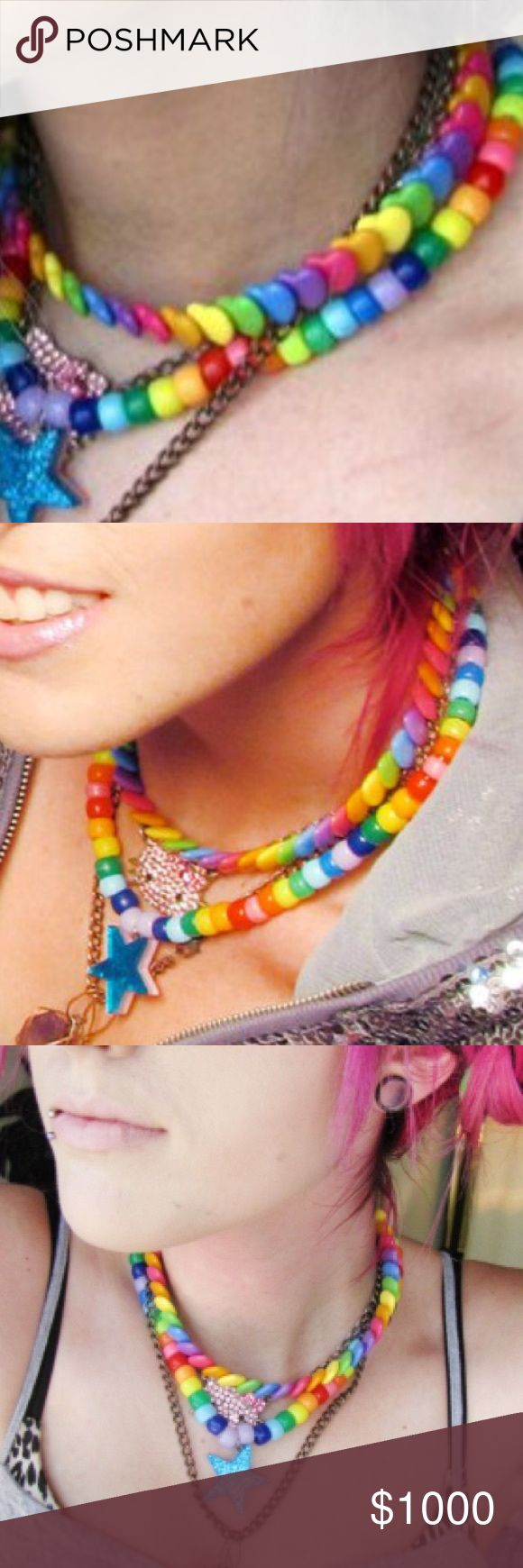 ISO rainbow heart beads necklace, kandi pony beads Leda Monster Bunny/HaiLedaBear wore this that a fan gave her. I think a bracelet version of this necklace was also sold somewhere. Please help! If you have one I'll buy it off you!! I think TARGET or WALMART used to sell this. THIS LISTING IS NOT FOR SALE. Jewelry Necklaces