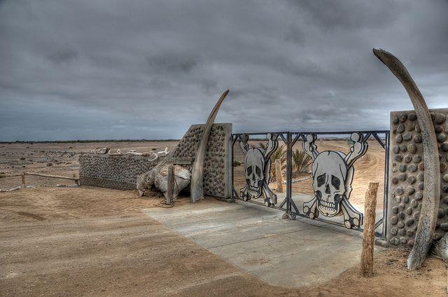 Namibia - Skeleton Coast National Park entrance gates.