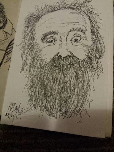 Drawing of a bearded man (29/01/2015) R Coates