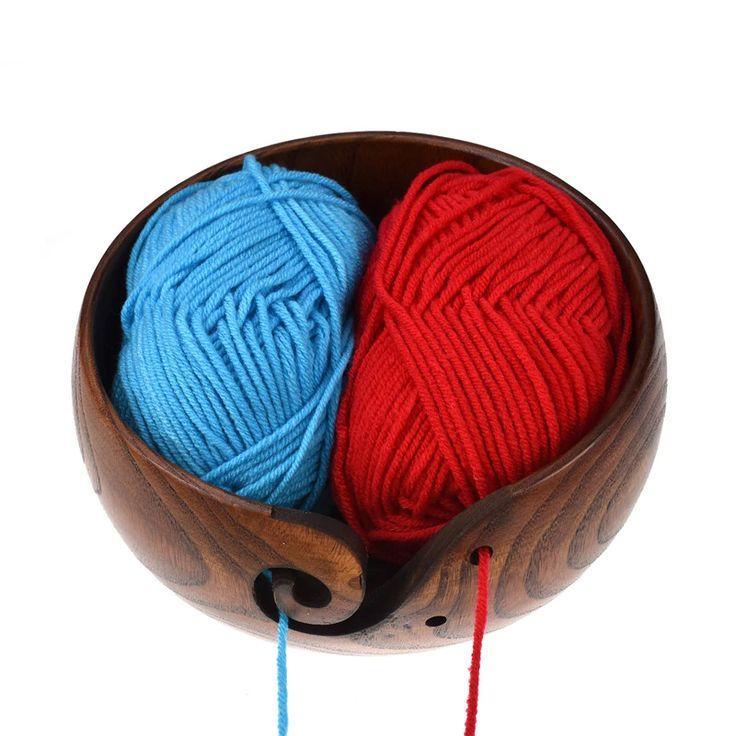Koknit empty wooden yarn storage bowl holder with holes