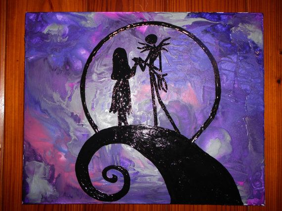 Jack & Sally from Nightmare before Christmas Melted Crayon Painting on Etsy, $45.00