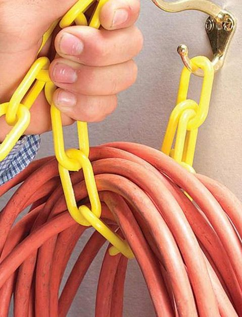 Use a hook and chain to loop up cords, cables, and hoses for storage