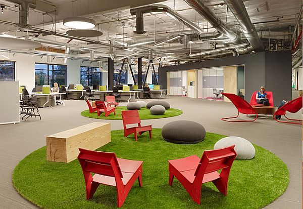 Fantastic open space office from Skype. Bunch of excellent pictures of their space on this site.