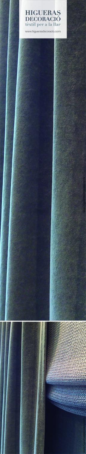 #Doble cortina. #Cortina larga y opaca tapando un estor paqueto sin varillas confeccionado con un tejido ligero con gran caiente. #Doble cortina. #Cortina llarga i opaca tapant d'un estor paqueto sense varetes confeccionat amb un teixit lleuger amb gran caient. www.higuerasdecoracio.com