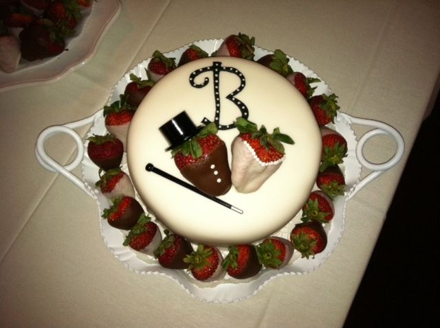 I made this cake for my brother's rehearsal dinner.  They love chocolate covered strawberries!  It's chocolate cake with a layer of chocolate pudding, iced in butter cream and covered in fondant.  I used Wilton candy melts to dip the strawberries alternating black and white.  It was a big hit and fairly simple to assemble.  Thanks for looking.  As always, the idea was inspired by other cake central participants.  Thanks everyone!