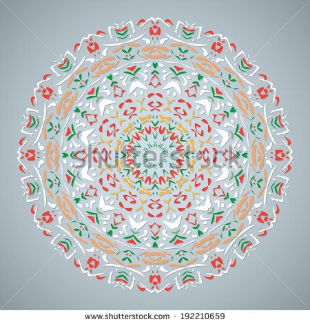 Circle Lace Ornament, Round Ornamental Geometric Doily Pattern. Vector EPS10