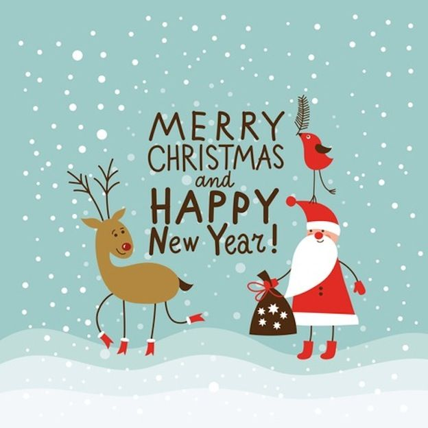 Merry Christmas And Happy New Year Snow Reindeer Santa New Year Happy New  Year New Year Quotes
