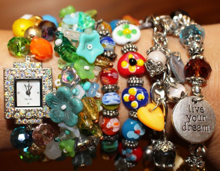 Handmade crystal watch, floral bracelet, charm and elastic style  bracelets.