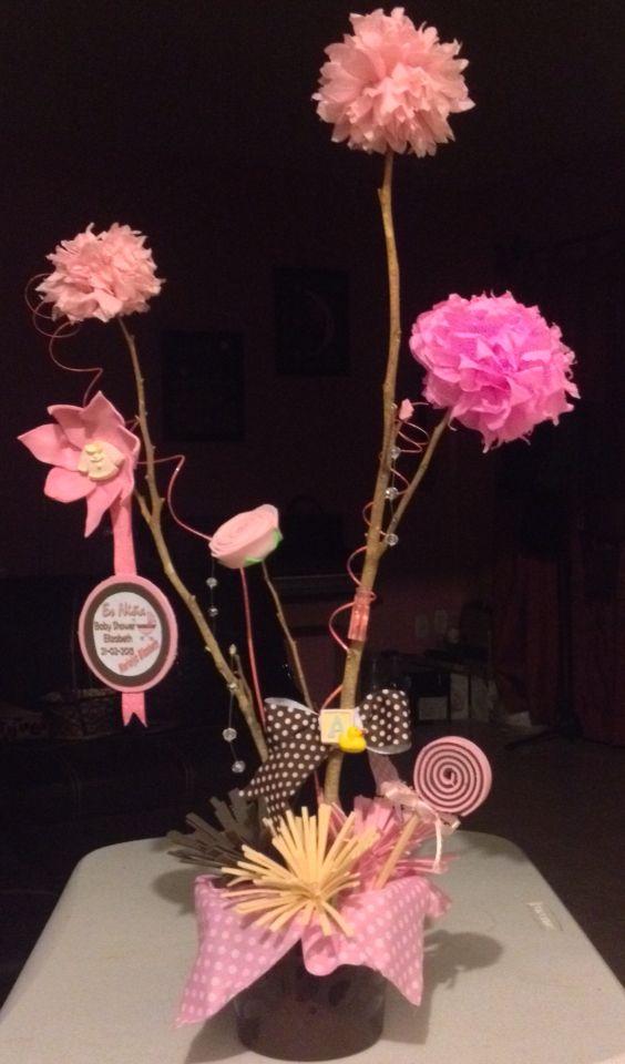Arbolito Centro De Mesa Baby Shower Flores De Papel De China Y Flores De Fomy Arbolito Para