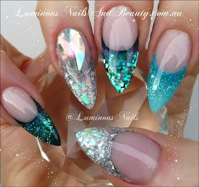 Turquoise and Silver Glitter Nails