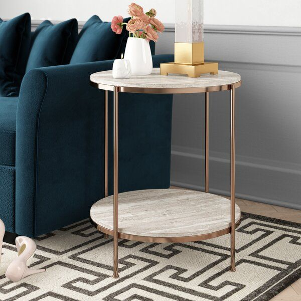 This Elegant Faux Stone End Table With Travertine Veining And Champagne Frame Draw An Exquisit Living Room Side Table Table Decor Living Room Living Room Table #round #living #room #end #tables