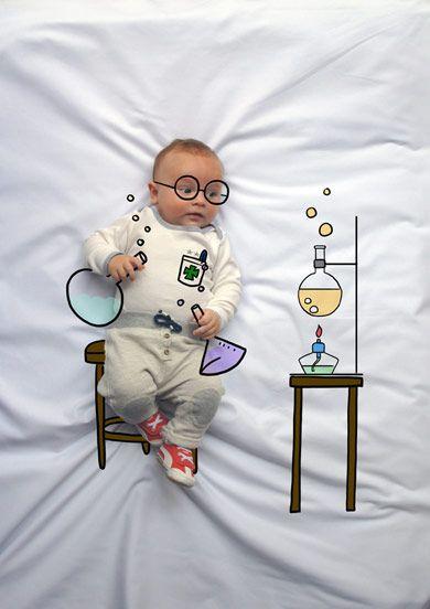 Teo de Mayor quiere ser Farmacéutico. Fotografia & Ilustración Creativa de bebés y niños soñadores. bebé baby