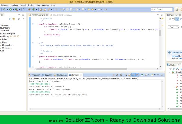 Download: http://solutionzip.com/downloads/creditcard-java/ 1.Credit card numbers follow certain patterns. A credit card number must have between 13 and 16 digits. It must start with 4 for Visa cards, 5 for Master cards, 37 for American Express cards, and 6 for Discover cards. In 1954, Hans Luhn of IBM proposed the following algorithm for validating credit card numbers: a.Double every second digit from right to left (e.g., if number is 3 => 3 * 2 => 6) and add them together. b.If this…