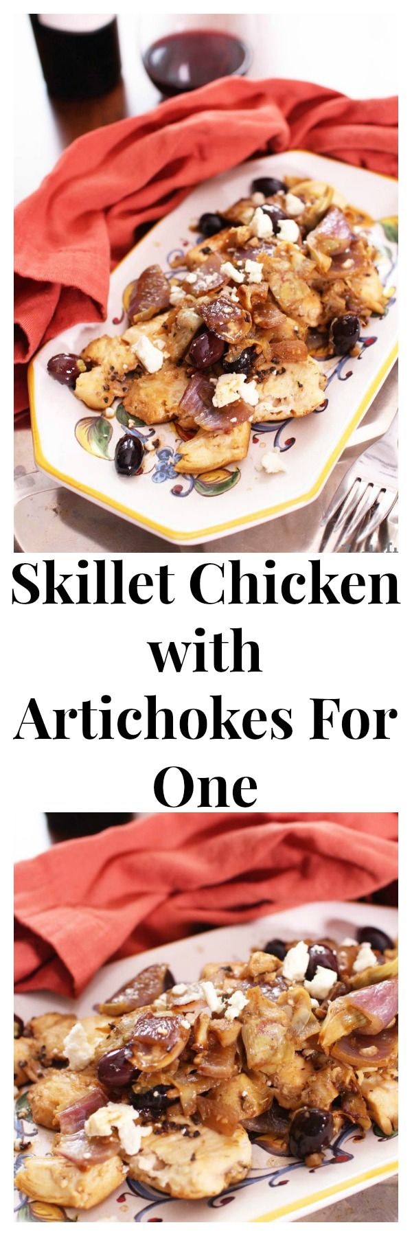 The flavors in this Skillet Chicken with Artichokes are amazing! Kalamata olives, red onions, artichokes and feta come together beautifully and compliment each other so well into this easy to make single serving dish. | ZagLeft