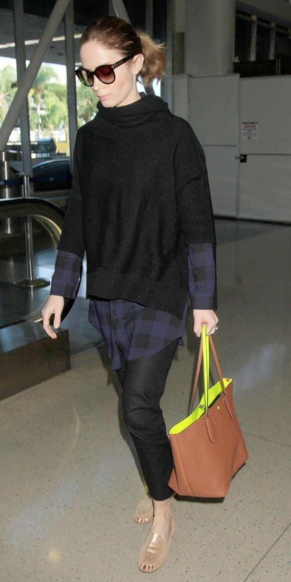Let Emily Blunt's Effortless Layers Inspire Your Next Airport Outfit via @WhoWhatWear