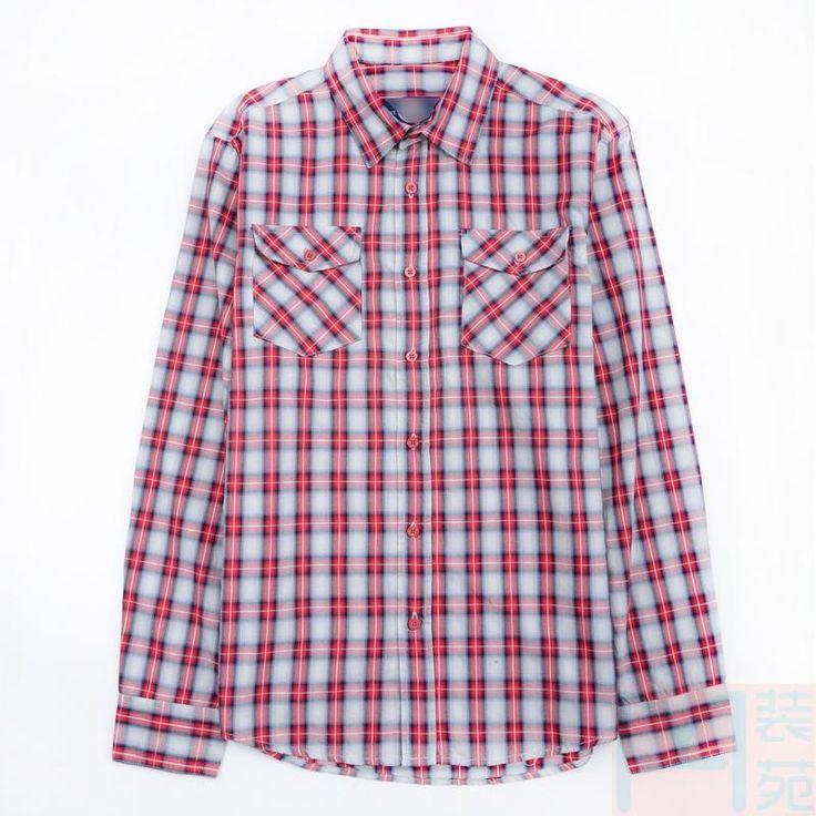 За пределами одного мужского 2015 весной новый хлопок плед рубашку с длинными рукавами лацкане кромка рад - Taobao