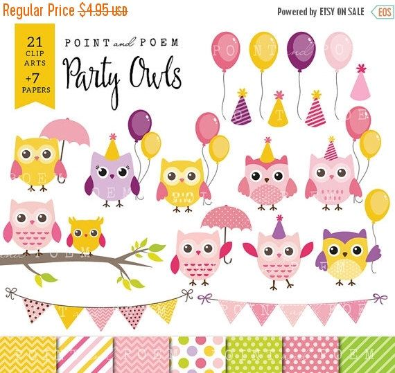 "80% OFF SALE Owls clip art: ""Party Owls"" Happy OWLS Clip Art /Instant Download/ by pointandpoem on Etsy https://www.etsy.com/listing/226282337/80-off-sale-owls-clip-art-party-owls"