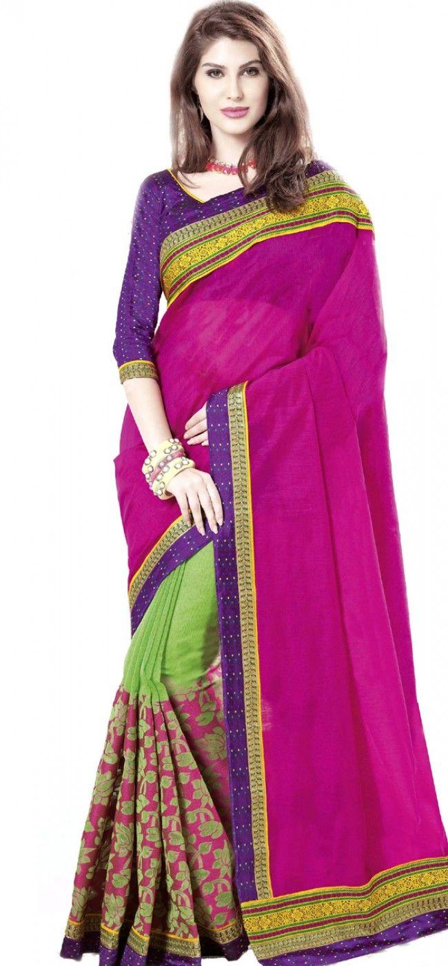 Deep pink and green cotton jacquard saree: KSR2527