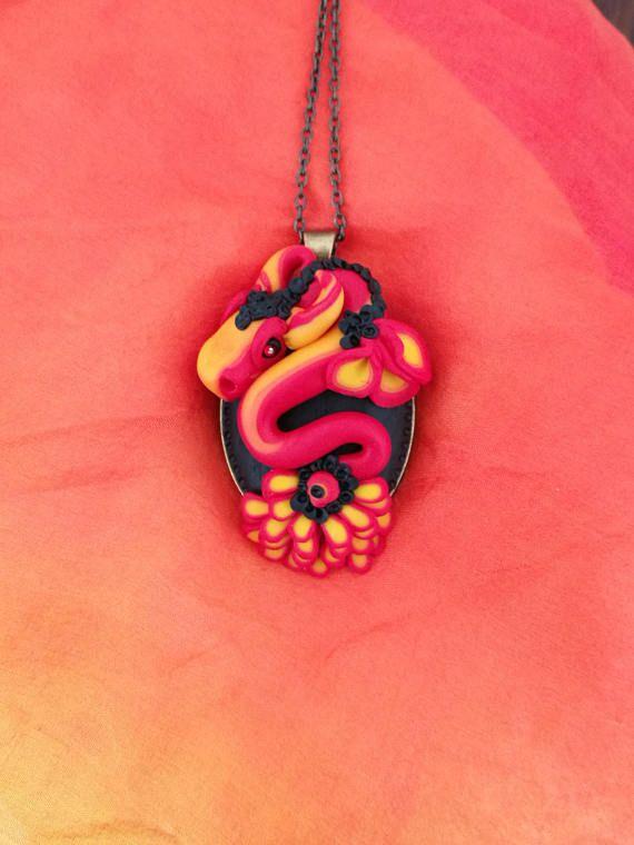 Fire Dragon  fantasy pendant polymer clay necklace fantasy