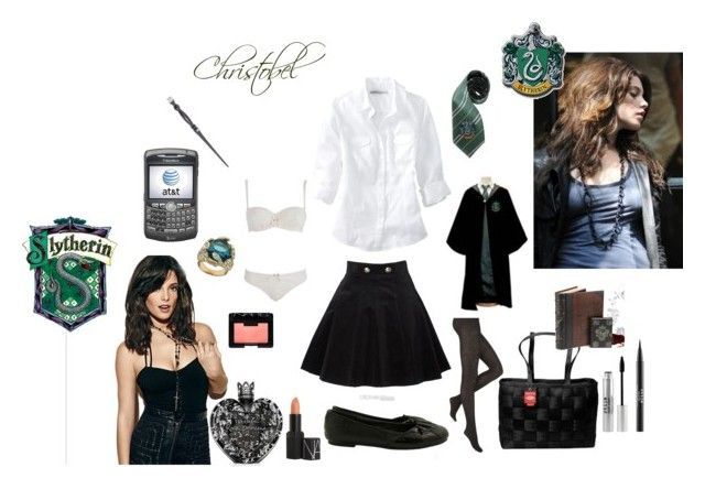 In School by apanna on Polyvore featuring polyvore, fashion, style, Old Navy, Aristoc, Reger by Janet Reger, AFTERSHOCK, ABS by Allen Schwartz, NARS Cosmetics, Stila, Vera Wang, Zone, PLANT, AT&T, clothing and ashley greene harry potter slytherin hogwarts witch