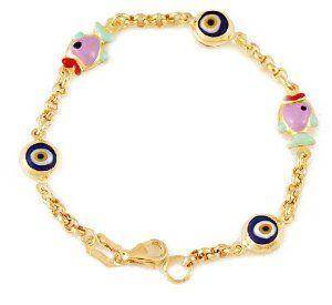 14k Gold Evil Eye Baby Bracelet with Enameled Charms and Ceramic Lucky Eye Beads Evil Eye Store. $315.00. 14k Gold. Double Sided Ceramic Lucky Eyes. Enameled Charms