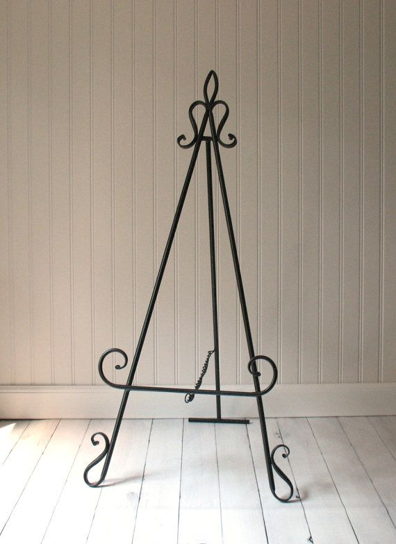 34 Tall EASEL TABLETOP Or FLOOR Large Black Metal By SykesStudios
