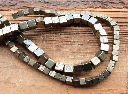 Для украшений ручной работы. Ярмарка Мастеров - ручная работа. Купить Пирит 6 мм - 10 шт кубик гладкий бусины камни для украшений. Handmade.