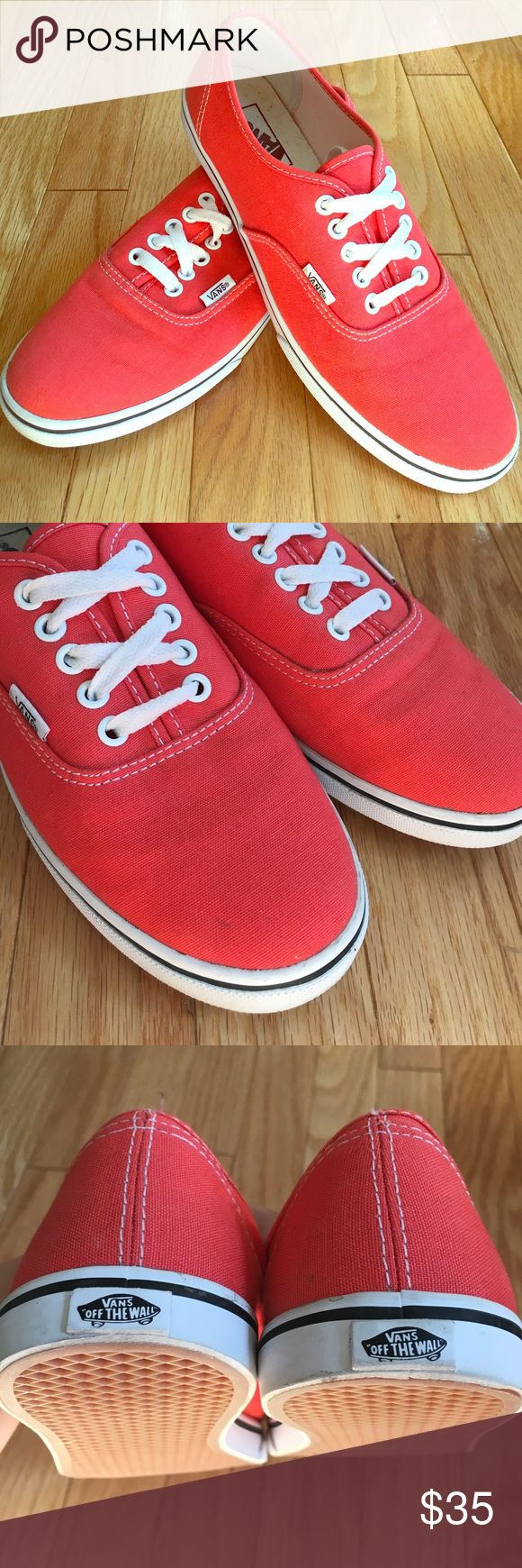 Coral vans🌅 Coral colored womens vans, only worn once! Great condition😊 (tiny little mark on the front shown) Vans Shoes Sneakers