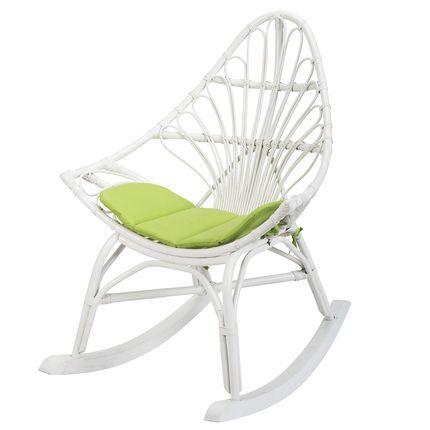 Rocking chair en rotin blanc - Calpe - Fauteuil rotin